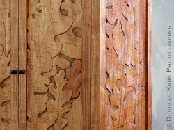 Textures of tool strokes and the Koa's curly grain compete for dominance in these oak leaf carvings making a striking image