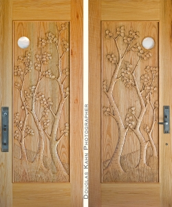 Notice how the carving varies between the inside and the outside of this single door.