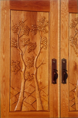 Double Aspen Carved Door Detail